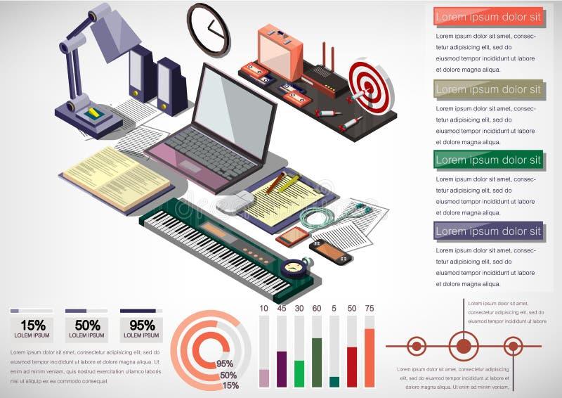 Illustration of info graphic interior office concept vector illustration