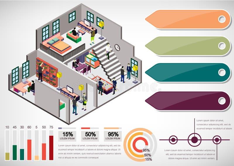 Illustration of info graphic interior room concept stock illustration