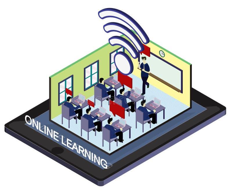 Illustration of info graphic online education concept stock illustration