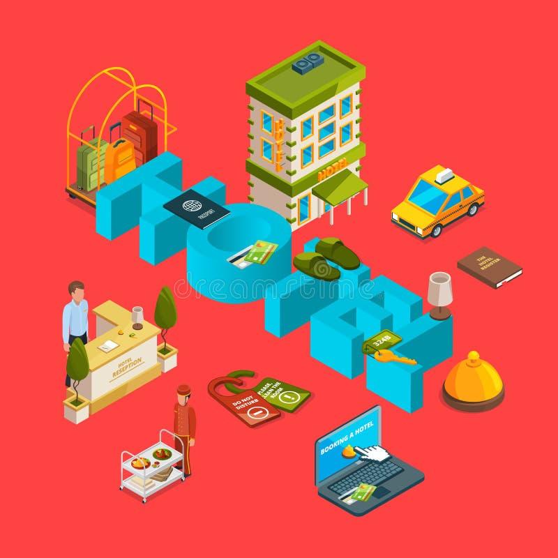 Illustration infographic de concept d'icônes isométriques d'hôtel de vecteur illustration stock