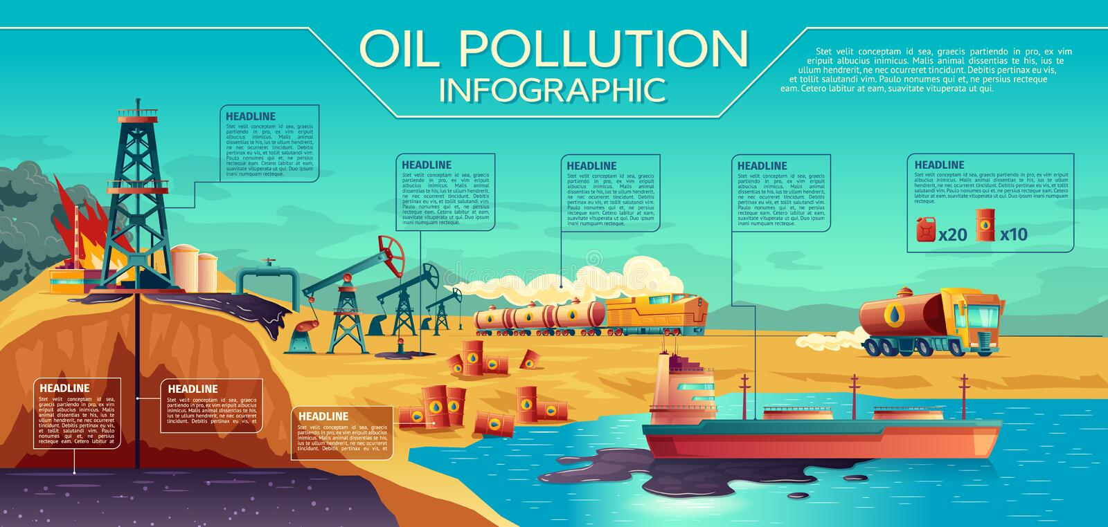 Illustration infographic de concept de pollution par les hydrocarbures illustration de vecteur