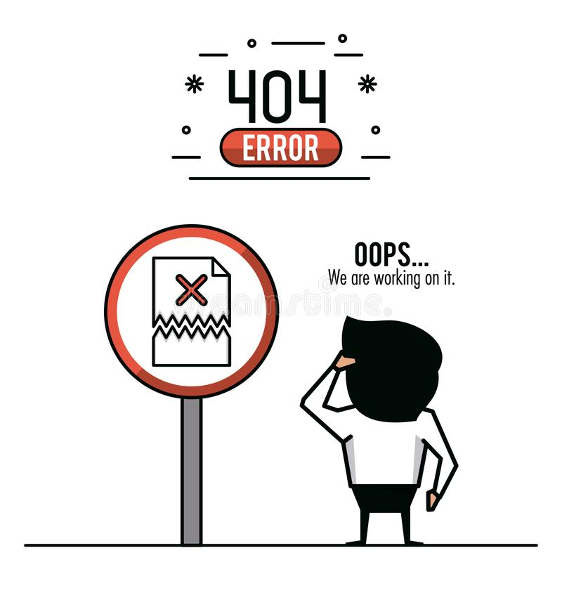 Illustration infographic de vecteur de l'erreur 404 illustration stock