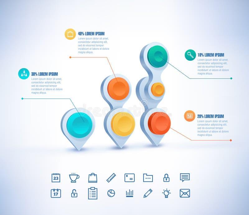 Illustration Infographic för vektor 3D 10 eps vektor illustrationer