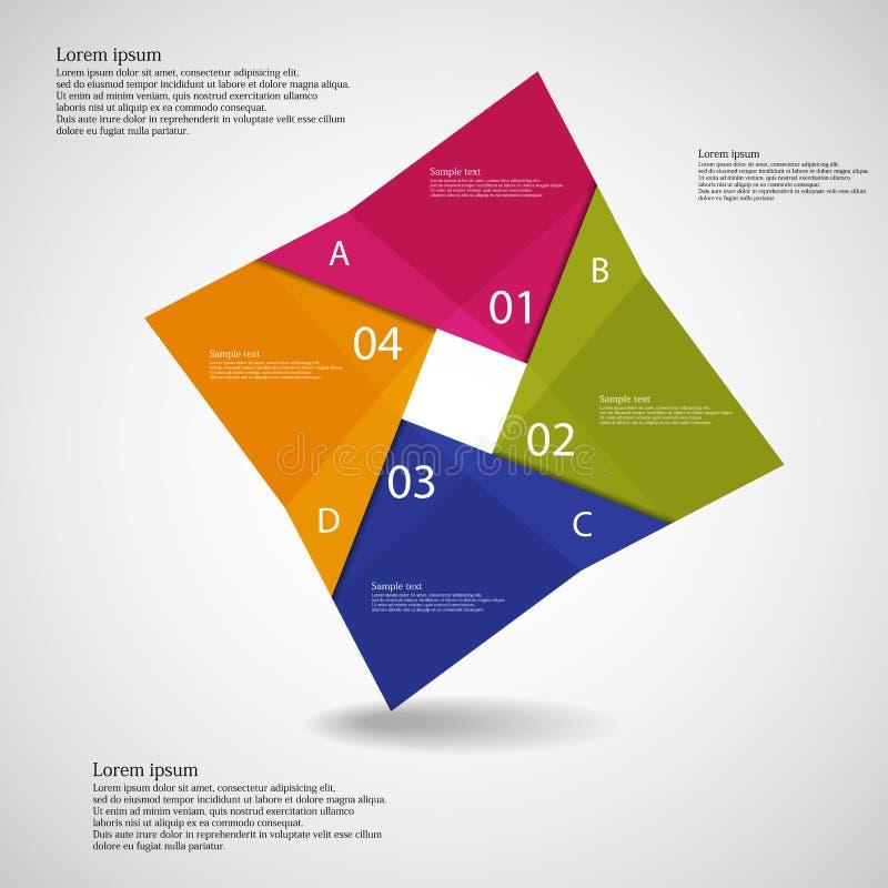 Illustration infographic mit quadratischem Origamimotiv stock abbildung