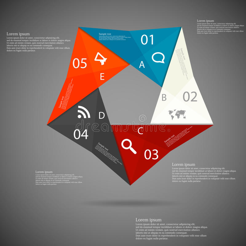Illustration infographic with origami motif stock illustration