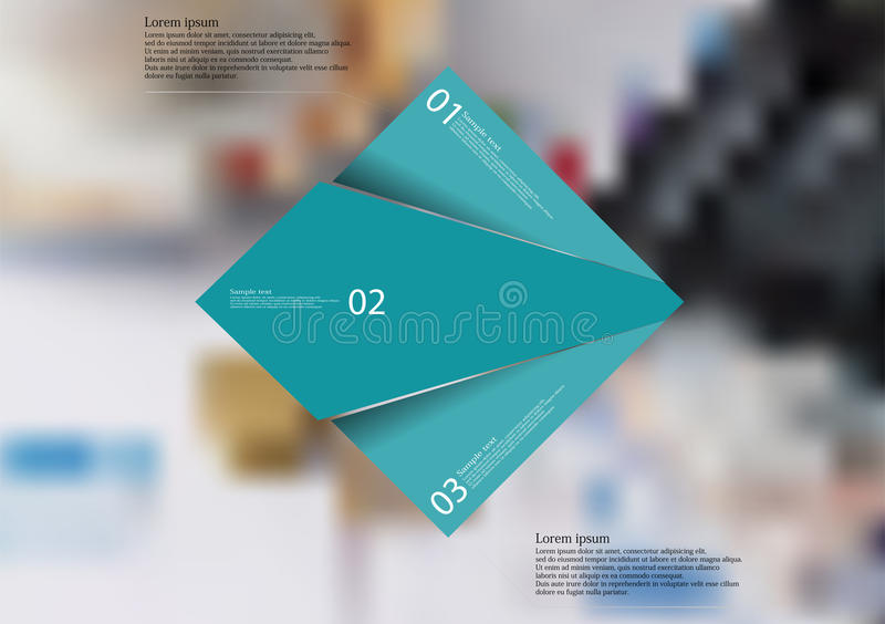 Illustration infographic template with blue rectangle randomly divided to three parts. Illustration infographic template with motif of blue rectangle randomly royalty free illustration