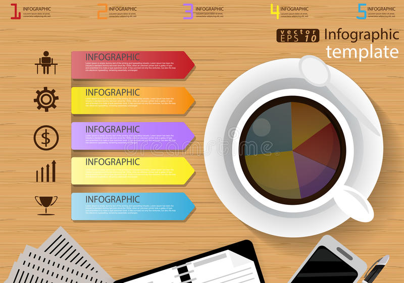 Vector illustration Infographic template Business modern Idea and Concept. with coffee cup,paper,diary,Pen,cellphone,Colorful,icon vector illustration