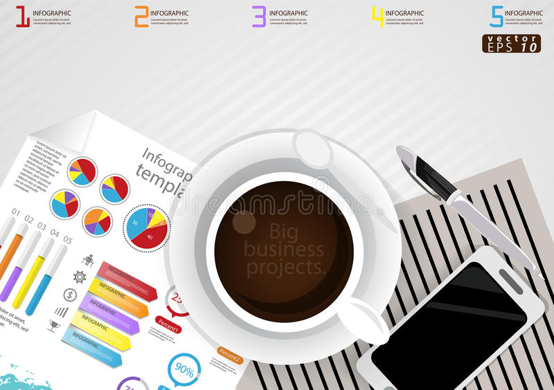 Vector illustration Infographic template Business modern Idea and Concept. with coffee cup,paper,diary,Pen,cellphone,Colorful,icon royalty free illustration
