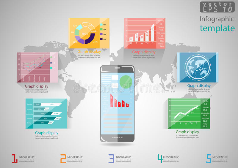 Vector illustration Infographic template Business modern Idea and Concept. with Tablet, charts, graphs, icons. vector illustration