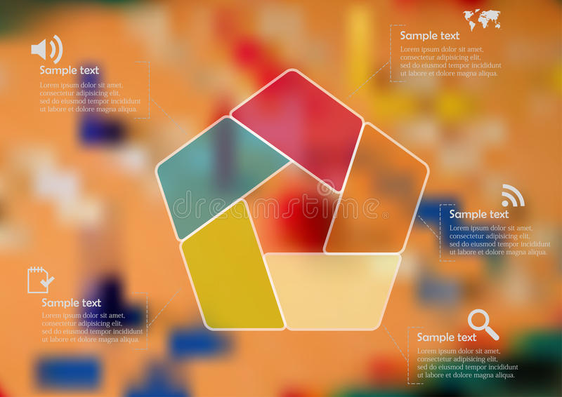 Illustration infographic template with color pentagon divided to five parts royalty free illustration