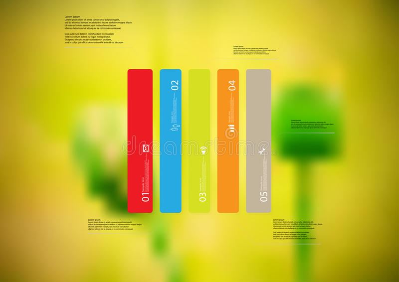 Illustration infographic template with rectangle vertically divided to five standalone color parts stock illustration