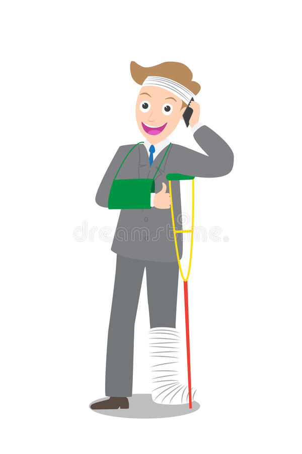 Illustration of injured businessman in bandages with crutches call insurance agent. On white background vector illustration