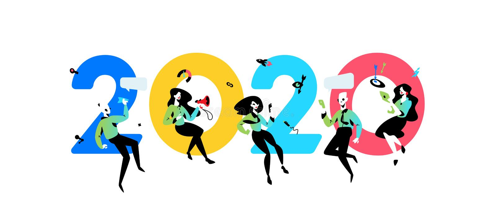 Illustration inscription 2020 New Year in the office. Vector illustration. Employees around the inscription. Image is isolated on stock illustration