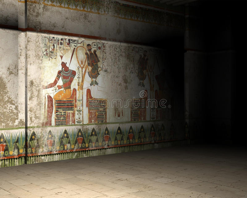 Ancient Egypt Tomb, Pyramid, Inside, Interior. 3D computer generated image of the inside of an Egyptian tomb or ancient ruins of a pyramid in Egypt. Wall art has stock illustration