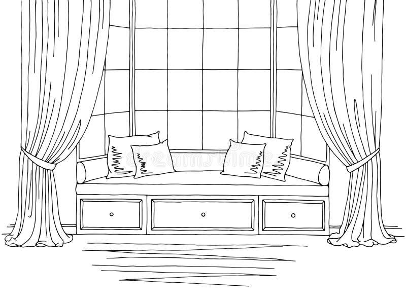 Illustration intérieure blanche noire graphique de croquis de fenêtre en saillie illustration stock