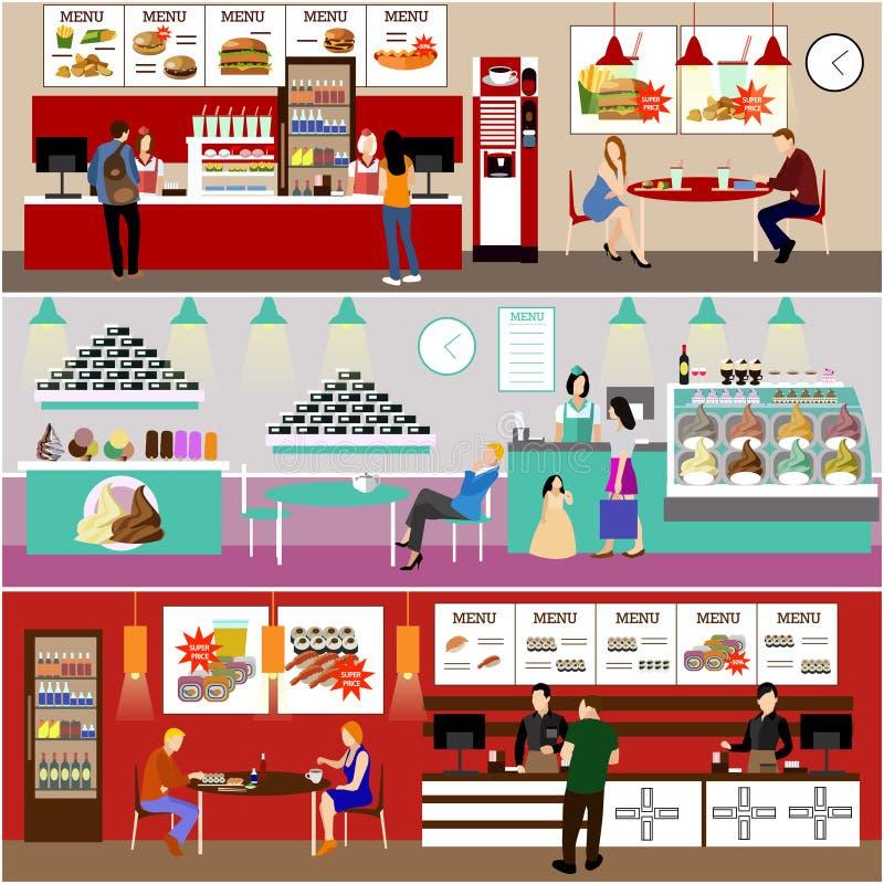 Illustration intérieure de vecteur de restaurant d'aliments de préparation rapide Bannières réglées dans la conception plate Café illustration libre de droits
