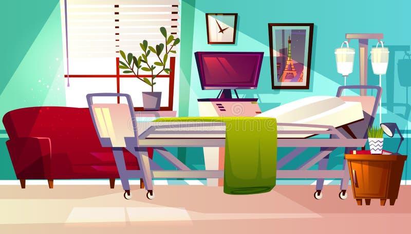 Illustration intérieure de vecteur de pièce de salle d'hôpital illustration de vecteur