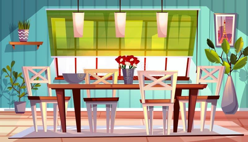 Illustration intérieure de vecteur de salle à manger illustration libre de droits