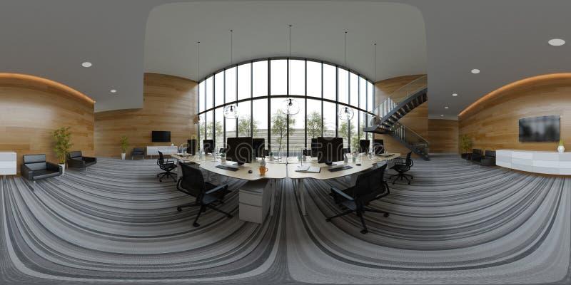 Illustration intérieure du bureau 3D de l'espace ouvert 360 de projection sphérique de panorama illustration libre de droits