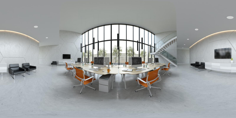 Illustration intérieure du bureau 3D de l'espace ouvert 360 de projection sphérique de panorama illustration stock