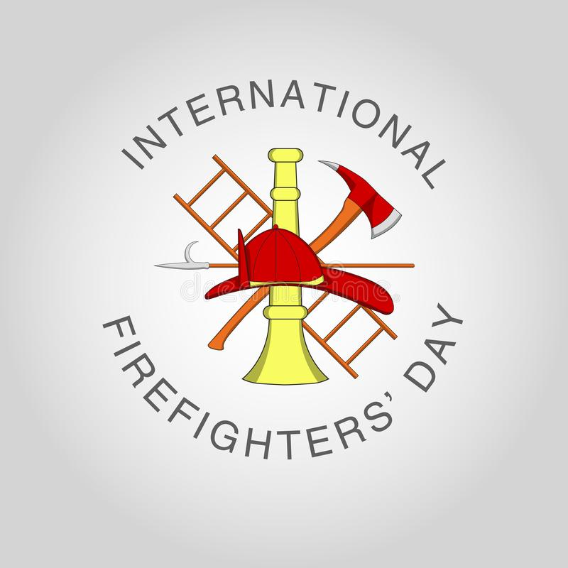 Illustration for International Firefighters` Day at may 4. Vector poster template with Red Firefighters Helmet and Crossed Axe and Ladder on Background stock illustration