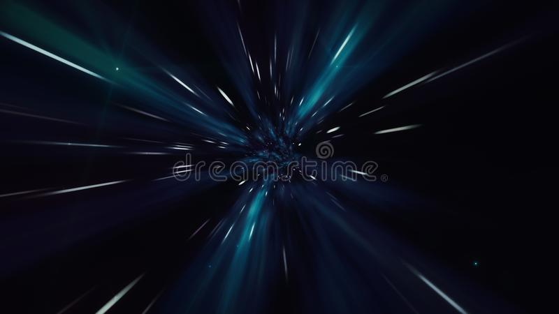 Illustration of interstellar travel through a dark wormhole filled with stars stock photo
