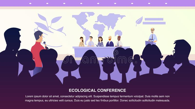Illustration Interview Journalist Professor Group. Banner Vector Male Journalist Asks Environmental Specialist. Group People Answers Questions from Ecological vector illustration
