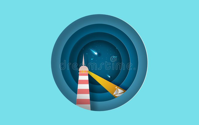 Illustration of Island with lighthouse Lighting boat on sea view at night the star on sky circle concept,Summer time night season vector illustration