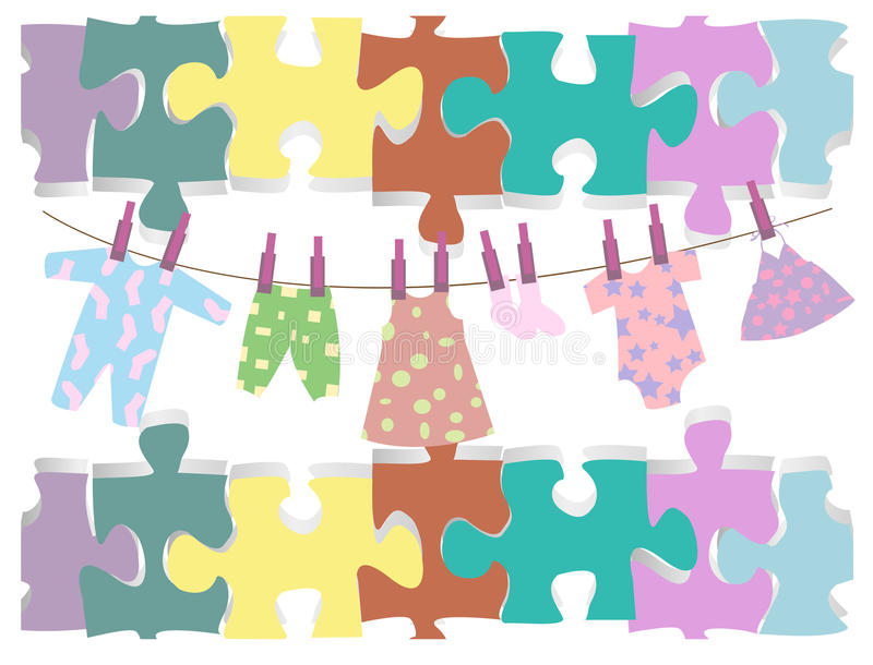 Illustration of isolated baby clothes. And puzzles vector illustration