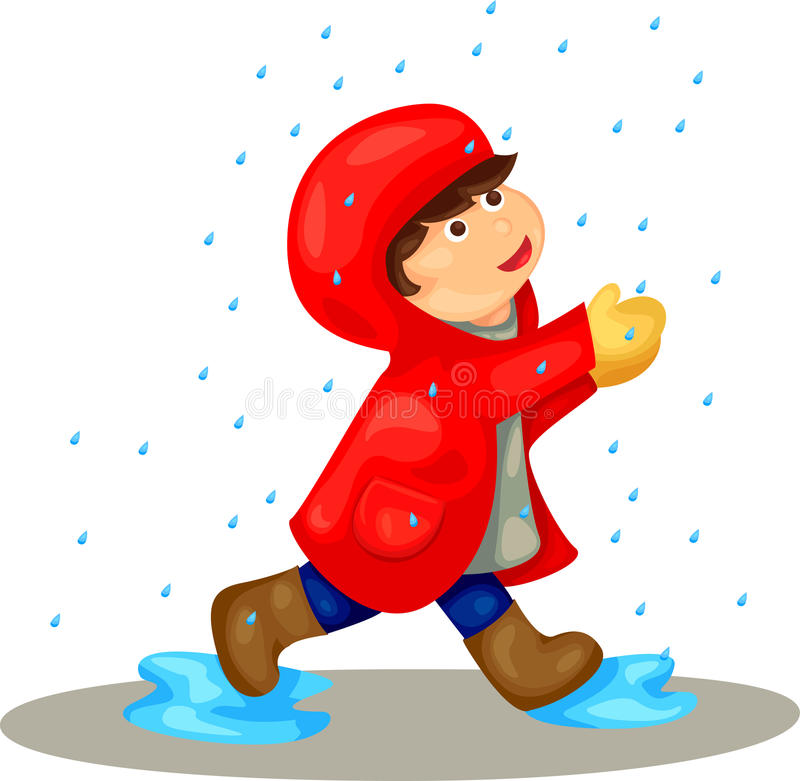 Boy In The Rain Stock Photos