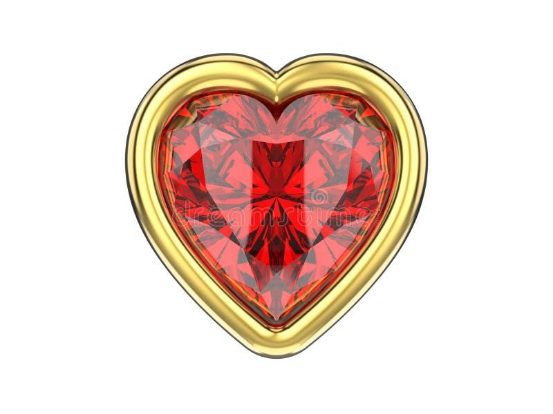 illustration isolerad diamanthjärta för rubin 3D i guld- ram royaltyfri illustrationer