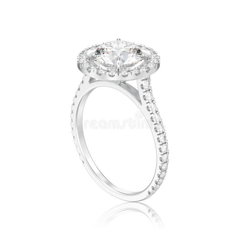 illustration isolerad för kopplingsbröllop för silver 3D diamant för runda vektor illustrationer