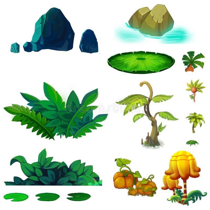 Illustration: Isolerad naturlig beståndsdeluppsättning 3 royaltyfri illustrationer