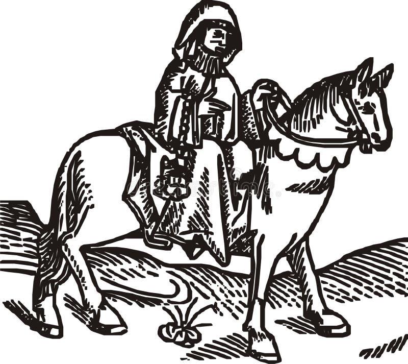 illustration isolerad prioressvektorträsnitt royaltyfri illustrationer