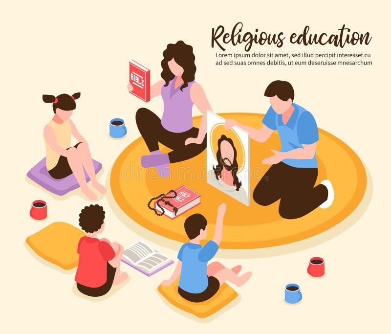 Illustration isométrique à la maison d'éducation religieuse illustration stock