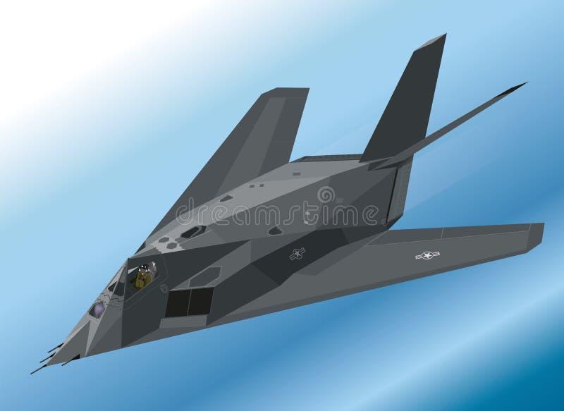 Illustration isométrique détaillée d'un combattant de discrétion du Nighthawk F-117 aéroporté illustration libre de droits