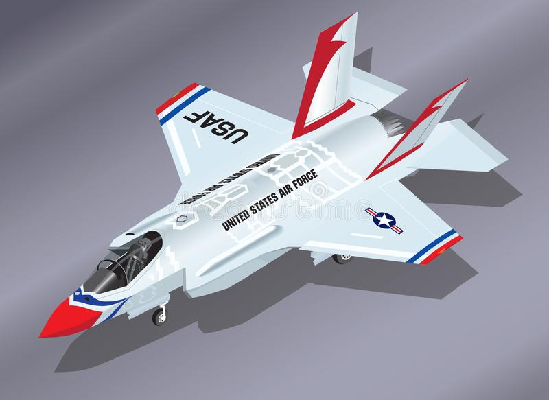 Illustration isométrique détaillée de vecteur F-35 d'un avion de chasse aéroporté de la foudre II dans les Thunderbirds Team Pain illustration libre de droits