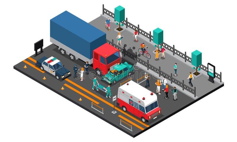 Illustration isométrique d'accident de route illustration de vecteur