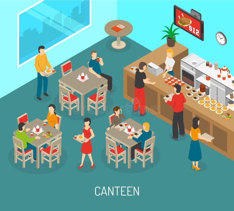 Illustration isométrique d'affiche de déjeuner de cantine de lieu de travail illustration de vecteur