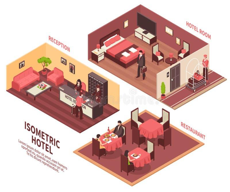 Illustration isométrique d'hôtel illustration stock