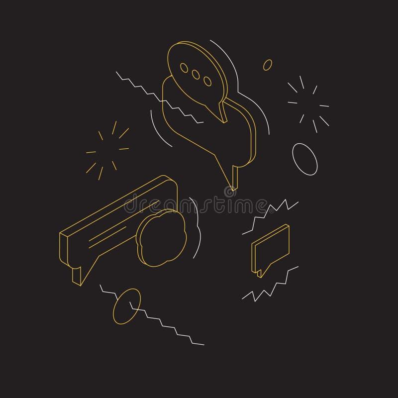 Illustration isométrique de bulles et de messages sur le fond noir illustration de vecteur