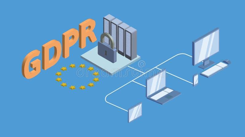 Illustration isométrique de concept de GDPR Règlement général de protection des données Protection des données personnelles Vecte illustration stock