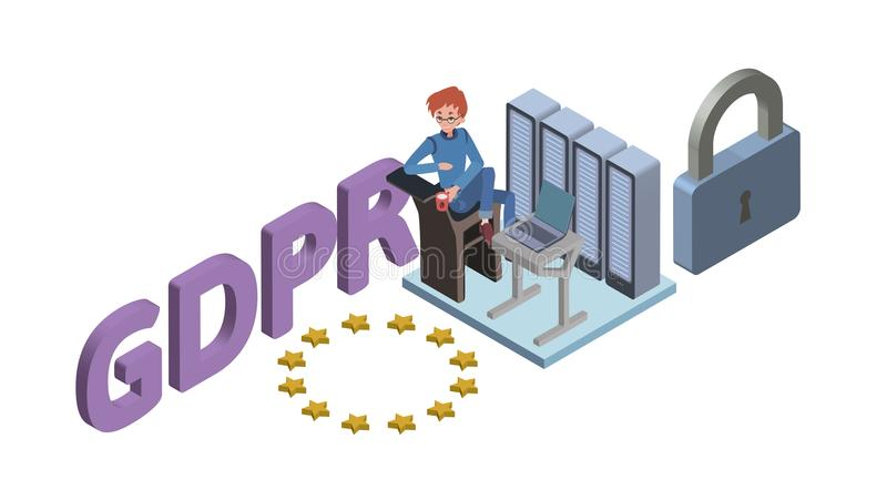 Illustration isométrique de concept de GDPR Règlement général de protection des données Protection des données personnelles Vecte illustration de vecteur