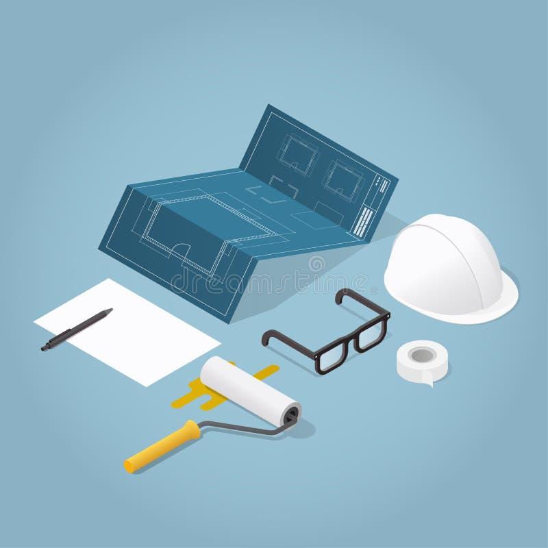 Illustration isométrique de construction de Chambre illustration de vecteur