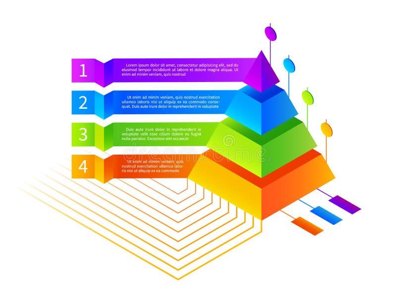 Illustration isométrique de pyramide d'infographics de vecteur illustration libre de droits
