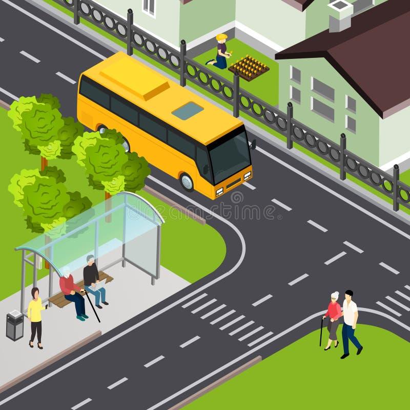 Illustration isométrique de transport en commun de retraité illustration libre de droits