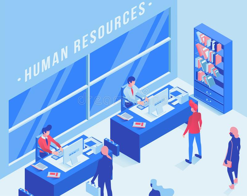 Illustration isométrique de vecteur de bureau de service de l'emploi Ressources humaines, le travail recherchant le dessin d'agen illustration libre de droits