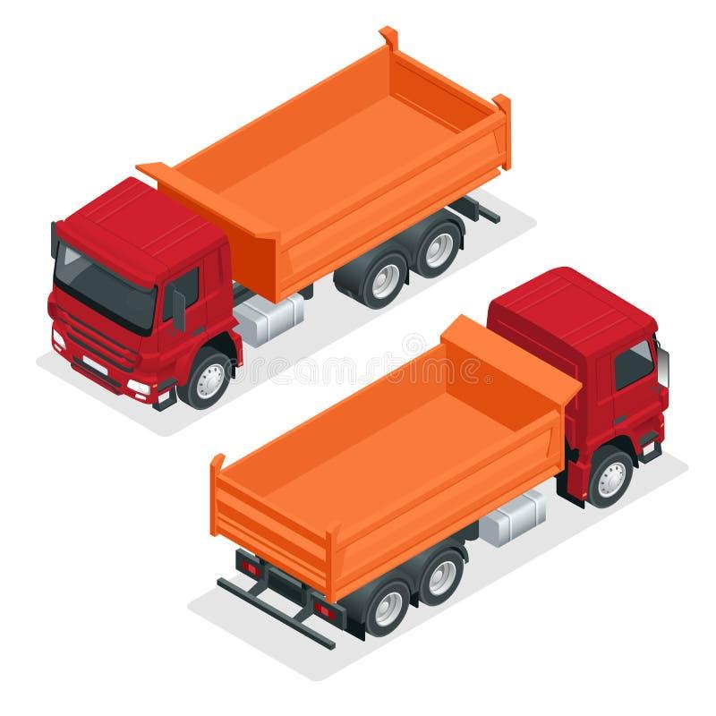 Illustration isométrique de vecteur de camion à benne basculante D'isolement sur la remorque hydraulique blanche de verseur, déch illustration de vecteur