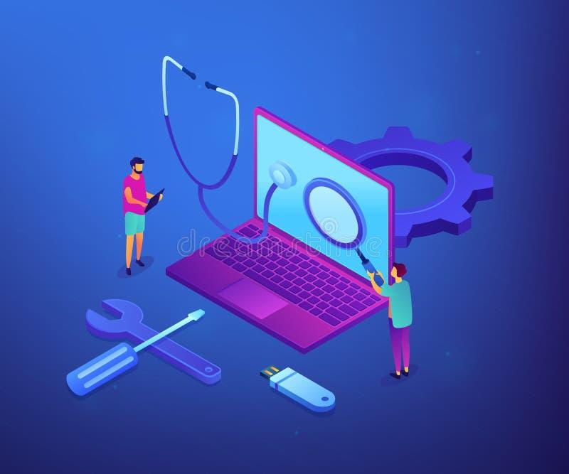 Illustration isométrique de vecteur de concept de service informatique illustration libre de droits