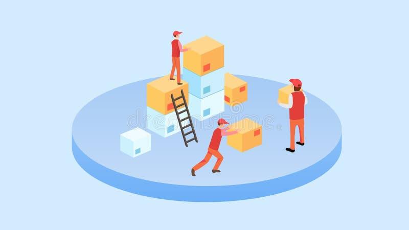 Illustration isométrique de vecteur d'ensemble d'images de boîte d'emballage de carton illustration de vecteur